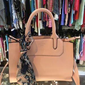 London Fog light pink leather handbag